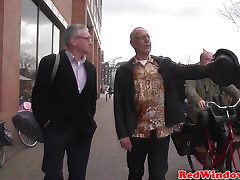 Youthful dutch fuckslut gives an old messy tourist whos teeth fall out a taste of his own spunk