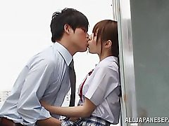 Amazing Asian teenager Rina Rukawa is into a naughty 3some in the classroom! Her horny classmates gets blowjobs and she gets a gonzo rear fucking and a pussy tonguing before stopping to piss. This teenager college girl knows how to entertain in am mmf sma