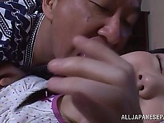 Alluring Japanese teenager ultra-cutie Marin Aono gets taunted by nasty old stud while she is ing. The stud starts to smooch and eat all her new youthfull bod and ultra-cute pussy. The mouth-watering female shows him here skills, fellating his jizz-shotgu