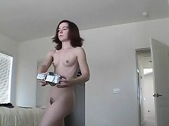 Puny redhead Annabelle flashes her ultra-cute melons and her edible culo