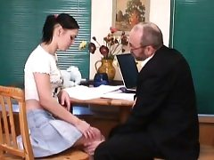Old teacher is pleasuring uber-cute babe's moist crack
