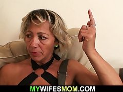 Girlfriends hot mom sucking and railing his horny cock