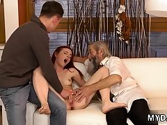 Old man domination & submission first time his father came closer to her and