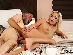 Teen rails old guy Surprise your girlplaymate and she