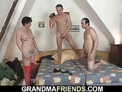 Hairy grandmother in crimson lingerie drinks 2 sausages