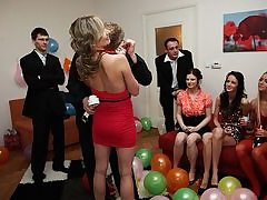 Sumptuous poking women at a B-day party
