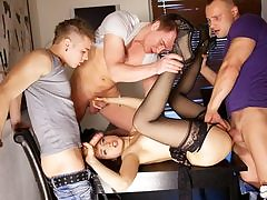 Group Sex porn activity for slender Taissia-Shanti