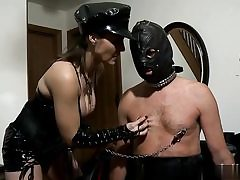 Nasty whore is squeezing her slave's nipples making him horny