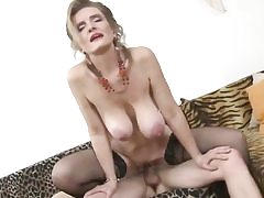 Posh busty mature mother fucks a lucky young dude with fervor and ;ust